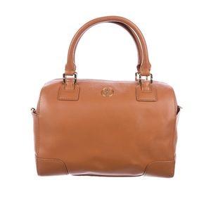 Tory Burch Caramel Leather Robinson Bowling Bag
